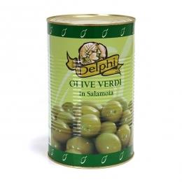 Оливки зеленые супергигант с косточкой в рассоле Delphi 4250г