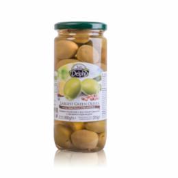 Оливки с косточкой маринованные с лимоном и кориандром DELPHI  480г.
