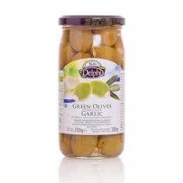 Оливки фаршированные чесноком в рассоле DELPHI 350г