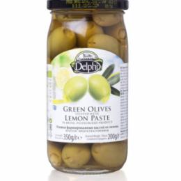 Оливки фаршированные пастой из лимона в рассоле DELPHI 350г.