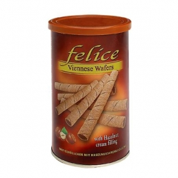 Феличе — Вафельные трубочки с ореховым кремом и какао 250гр